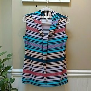 Sleeveless pullover blouse, striped